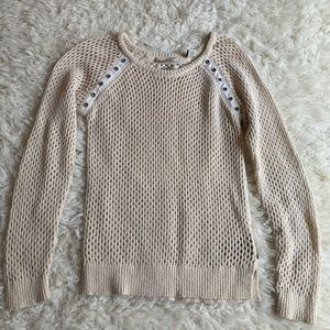 Maison Scotch Cream Perforated Pullover Sweater